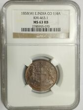 1858 East India Co 1/4 Anna NGC MS 63 RB