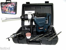 "1-1/2"" ELECTRIC ROTARY HAMMER DRILL WITH BITS SDS PLUS ROTO TOOL 1.5 HP"