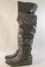 Chocolate Brown Flat Round Toe Ankle Buckle With Stud THigh High Boot Size 5