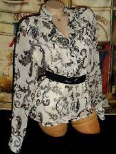USA M Silk Blouse B/W Black White Chiffon Double Ruffle Flounce CWC Jacobean