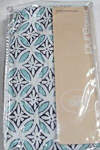 DKNY HARMONY Pure Block Print Quilted Standard Queen Organic Pillow Sham Blue