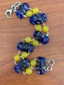 "Handmade sterling Silver Plated Bracelet MillifiorI Blue Yellow Glass Brass 8"""