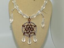 Hand-Made Chain Maille Pendant & Faceted Quartz on Antique Brass Set