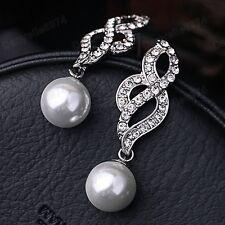 "2""long WHITE PEARL CRYSTAL silver tone OPEN TWIST bridal rhinestone VINTAGE STYL"