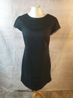Monsoon Black Cotton Embroidered Scoop Neck Cap Sleeve A-Line Dress Size 12