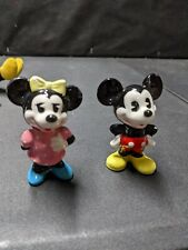 Vintage Ceramic Walt Disney Productions Mickey and Minnie Mouse Figurines Japan