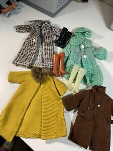 Vintage Barbie Doll Clone, Mommy Made Hand Made COATS Lot Sweater, hat BOOTS!