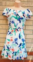 RED HERRING WHITE MULTI COLOUR FLORAL RUFFLE BARDOT A LINE SUMMER DRESS 8 S
