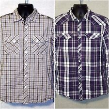Lot of 2 Ecko Unltd Shirts Size M Plaid Purple and Brown Long Sleeve Button Up