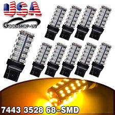 10x Amber/Yellow 7443/7440/T20 68smd Turn Signal Tail Brake Stop LED Light Bulbs