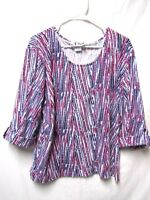 N TOUCH top shirt blouse XL 16/18 Bust 50 white purple pink Modern Print