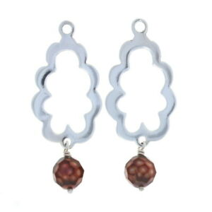 New Pandora Brown Faceted Pearl Scallop Earring Charms - Sterling 290605PCO