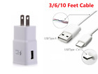 Adaptive Rapid Fast Charger +6/10FT Type-C Cable For LG Stylo 6 5 4 G5 G6 G7 V20