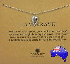 Dogeared I AM BRAVE Silver Shield Inspirational Message Pendant Necklace Gift