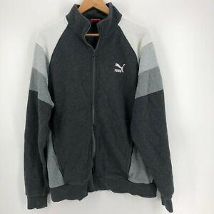 Puma Sweater Men's XL Gray Full Zip Striped Logo Cotton Mock Neck
