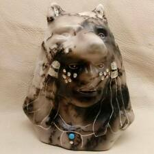 Pot-73T Hand Carved Horse Hair Chief Head (Wolf)