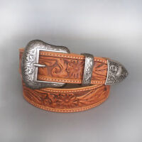 Vintage Pin Belt Buckle Hand Crafted Cowboy Cowgirl Western Genuine Leather Belt