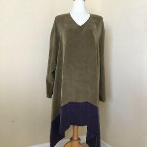 Melinda Phillips Tunic Lagenlook Boxy Olive Green & Purple 100% Rayon Size L