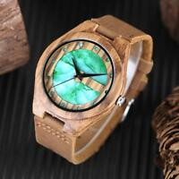 Unique Wooden Watch Bamboo Wristwatch Bracelet Leather Strap Casual Wood Watches