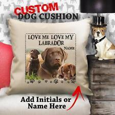 Personalizzato Cane Labrador Cioccolato Vintage Cuscino Copertura Tela Regalo