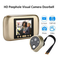 "Smart Door Bell Visual HD 720P Camera Peephole 3.2"" Audio & Video Home Security"