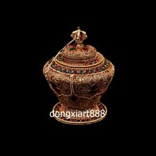 Tibet silver Wire inlay gemstone Buddhism Sacrifice Vase Pot Jar Jug pitcher