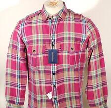 Polo Ralph Lauren Pink Plaid Flannel Shirt Epaulet Linen / Silk Sz S $165 D2F