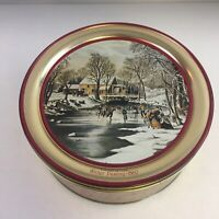 """Vintage Currier & Ives Winter Pastime -1860 Collectible Tin 10"""" Limited Edition"""