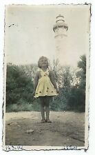 D028 Photo vintage Originale Tinted colorisé Phare des Baleines Ile de Ré Fille