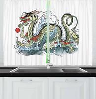 "Japanese Dragon Kitchen Curtains 2 Panel Set Window Drapes 55"" X 39"" Ambesonne"