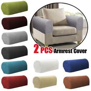 1 Pair Sofa Armrest Covers Polar Fleece Sofa Stretch Towel Chair Arm Protectors