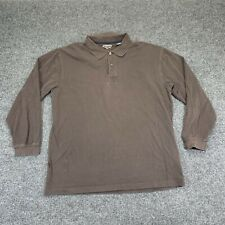 New listing ST JOHNS BAY Polo Mens Large Tall Brown Sueded Long Sleeve Solid Plain Casual