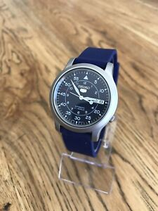 Seiko 5 Automatic 7S26-02J0 Day Date Blue Dial Watch