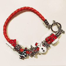 FASHION JEWELRY - Red Woven Leather Christmas Winter Enamel Charms Bracelet