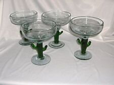 4 vintage Art Glass Margarita Clear Crystal Large Green Cactus Stems