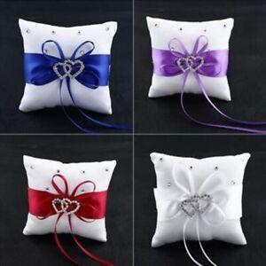 Bridal Wedding Ceremony Ring Bearer Pillow Cushion Crystal Heart Ribbons New