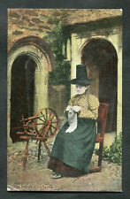 C1910 View: Welsh Lady in Traditional Costume Sitting by a Spinning Wheel