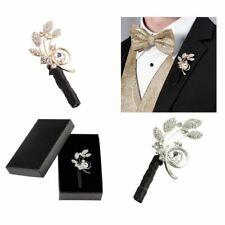 Wedding Boutonniere Pin Mens Lapel Buttonholes Rhinestone Groom Accessories