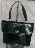 Vintage 1960s Black Patent Faux Leather Mod Hand Bag Tote Bag
