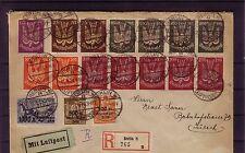 """Deutsches Reich """" Rhein - Ruhrhilfe"""" echt gelaufener Einschreibenbr  (Belege 14)"""