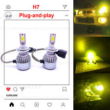 2020 NEW H7 LED Headlights Bulbs Conversion Kit Canbus 50W 4500LM 3000K Yellow