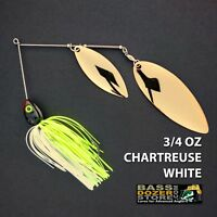 Bassdozer spinnerbaits BIG WILLOW DOUBLE 3/4 oz CHARTREUSE WHITE #2 spinner bait