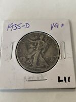 FREE SHIP! 1935-D Walking Liberty Half Dollar- Nice Early 1900's Silver Coin L11
