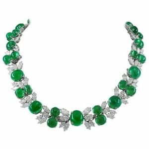 Handcrafted Green Oval & Marquise Shaped Diamond Jewelry Evening Wear For Womens