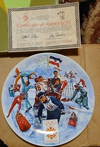 """THE OFFICIAL 1984 WINTER OLYMPIC GAMES PLATE No. 8805A Sarajevo, by Viletta 8.5"""""""