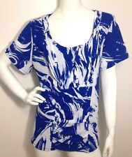 Women's New  Blue White Short Sleeve Ruched Front  Blouse Top Plus Size 1X NWT