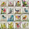 Cover Home Waist Style 18'' Cushion Linen Pillow Cotton Decor Case Bird Sofa