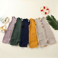 Newborn Infant Baby Girls Boys Cotton Linen Romper Jumpsuit with Pockets Outfits