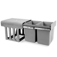 15L Double Pull Out Rubbish Garbage Waste Trash Cupboard Cabinet Kitchen Bin