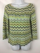 Sigrid Olsen Striped Sweater Open Zigzag Size Petite Small PS